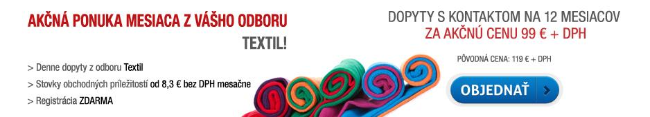 Akčná ponuka - dopyty s kontaktom Textil